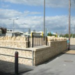 Stone wall at  APCOA car park