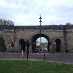 The imposing railway viaduct makes a perfect gateway to the town centre.